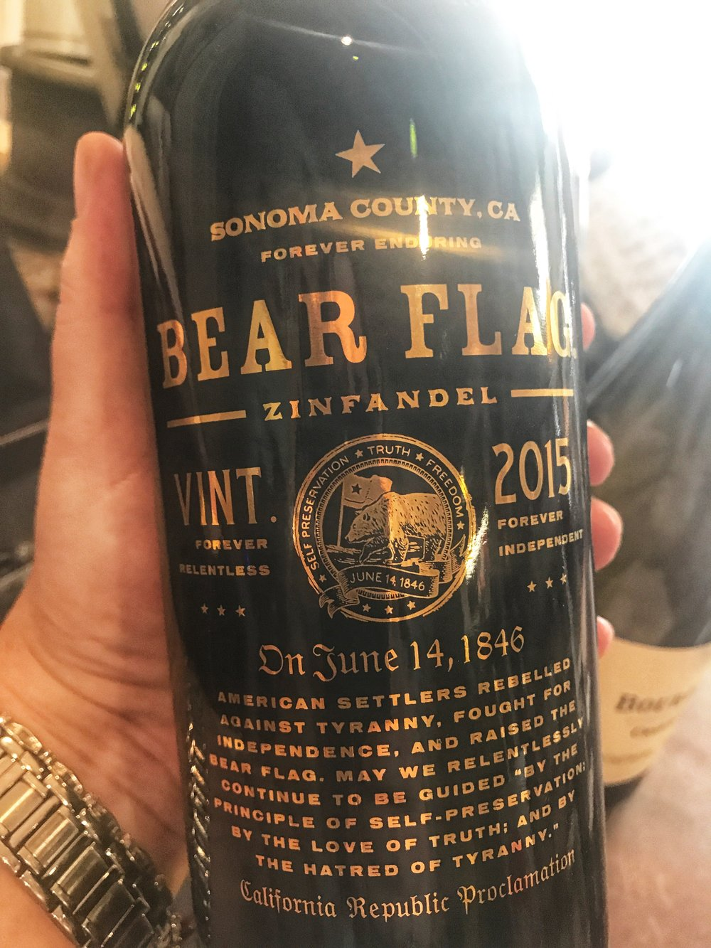 2015 Bear Flag Zinfandel, Sonoma: 92 points Wine Spectator $21.99. Based on a California Republic Proclamation from 1846, this wine offers a nod to Sonoma's place in history. It was the location for the Bear Flag Revolt, a fight for Californian independence. We see this as a great representation from one of the state's best growing regions for this variety. With 78% Zinfandel, 9% Petite Sirah, 6% Teroldego, 5% Malbec, and 2% other varieties, the majority of the fruit hails from Dry Creek Valley. With classic Zin aromas of peppered nettle and blueberry tart, the palate is rich, dense, and forward. This plucky Zin shows brightness, with a rustic, textured mouthfeel.