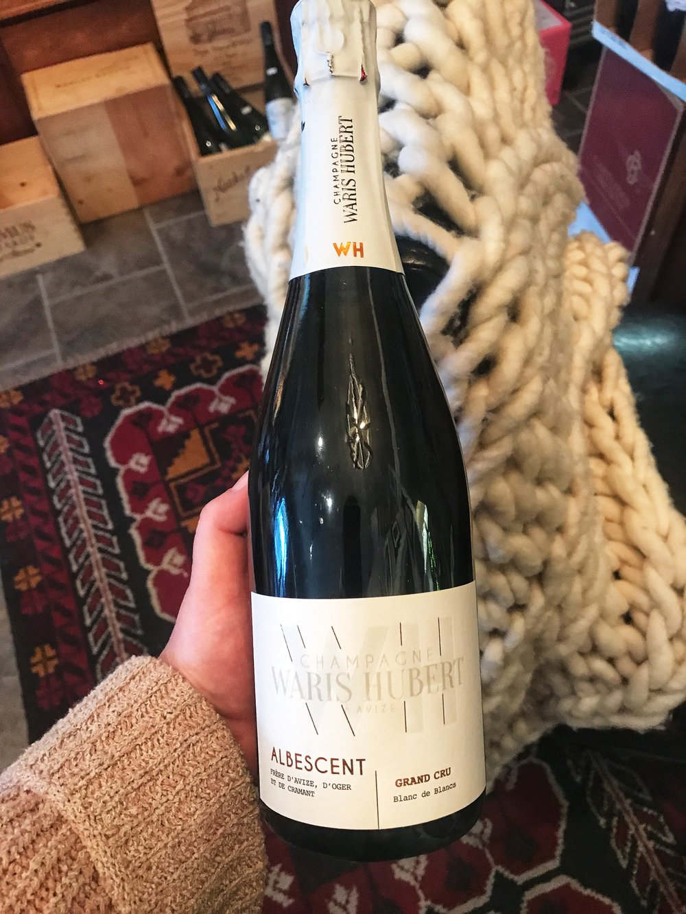 "NV Champagne Waris-Hubert ""Albescent"" Grand Cru Blanc de Blancs (Reg. 59.99/Sale 48.99) Often in the region of Champagne, from the hands of matrimony stems the joining not only of two people but plots of vineyard land as well. In 1997, Stéphanie Hubert and Olivier Waris were wed. Stéphanie & Olivier are each the fourth generation of grape growing families in Avize, a Grand Cru-classified village of the Côte des Blancs. Thus was born the estate of Waris-Hubert, with vineyards in the villages of Avize, Oger, Cramant, Chouilly and Aÿ, all classified ""Grand Cru"", along with the communes of Grauves, Bisseuil and Sézanne, terroirs of character. Together this is an exceptional collection of vineyards, in all a total of 11 hectares (26 acres). THE WINE Vineyard Profile Villages of Cramant and Avize Average age of vines: 25 years Calcareous clay soil Vine husbandry: 100% tillage Wine Summary Made from Chardonnay grapes. Vine age – 25 year average in 2015. Grown on soils of Calcerous & clay. Fermented in stainless steel vats at 16°C. Aged in bottle at 11°C. Aged for approximately 3 years. Technical Information 100% Chardonnay Grand Cru 100% cuvée (first press juice) Cold vinification: cold settling at 4°C for 72 hours then alcoholic fermentation at 16°C. Vinification in stainless steel vats for 6 months. Cellar aging for approximately 3 years in racks at a constant temperature of 11°C. Dosage: Brut 7g/l.       Miscellaneous"