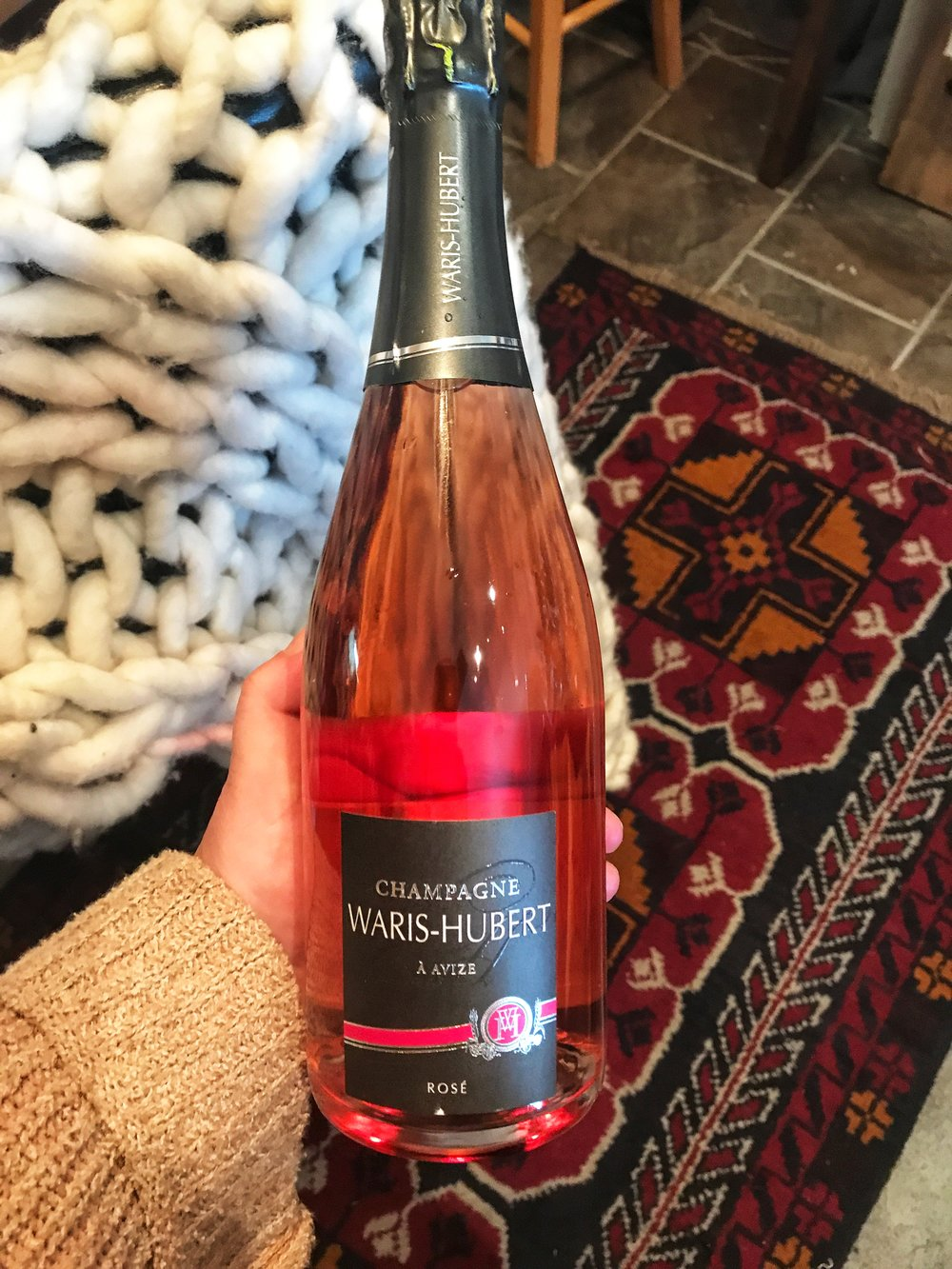 Champagne Waris-Hubert Brut Rosé: (Reg. 65.99 Sale 59.99)    GRAPES / SOILS Chardonnay (85%), Pinot Noir (15%) THE WINE Vineyard Profile Village d'Avize for the Chardonnay Pinot Noir de Bouzy for the Rouge Wine Summary Made from Chardonnay (85%), Pinot Noir (15%) grapes. Fermented in stainless steel vats at 16°C. Aged in in bottle at 11°C. Aged for 18 months. Technical Information 85% Chardonnay from Grauves, 15% Pinot Noir (Bouzy red wine) 100% cuvée (first press juice) Cold settling at 4°C for 72 hours, then alcoholic fermentation at 16°C. Vinification in stainless steel vats. Cellar aging for approximately 18 months at a constant temperature of 11°C. Dosage: 7 g/l.