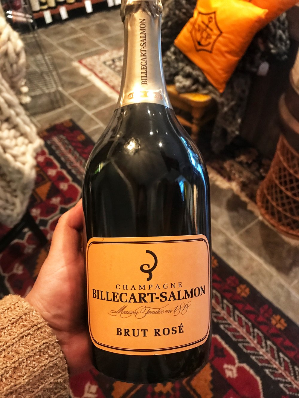 NV Billecart Salmon Brut Rosé: (Reg 99.99/Sale 85.99). Pure Luxury.   Pale, silvery-pink color, with a strong, frothy mousse. Pure and precise, with penetrating aromas of wild strawberry, raspberry, blood orange, kiwi, oyster shell and fresh lavender. Brisk on the palate, showing a range of red berry flavors accented by tangy rhubarb and bergamot notes, which ratchet up the refreshment factor.