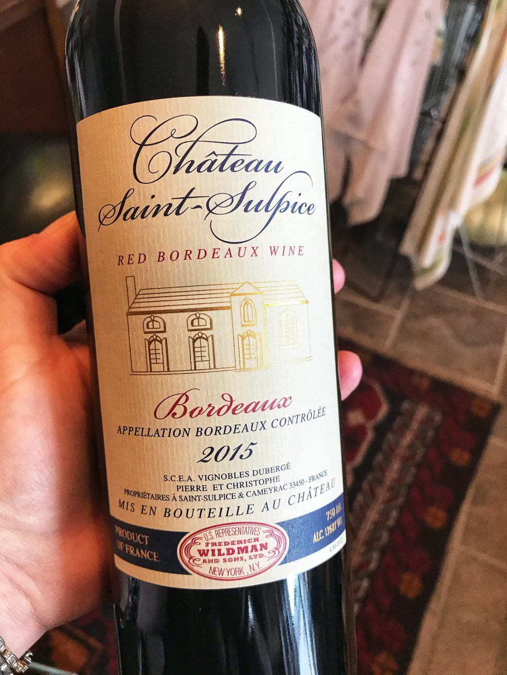 "2015 Chateau Saint-Sulpice, Bordeaux: When the vintage is as outstanding as 2015...there are values to be found!   This wine is vinified as if it were a ""classified growth"": complete de-stemming, eight-day fermentation in new temperature-controlled stainless steel tanks and aging in vats for several months before bottling. This approach emphasizes the natural red fruit characters. The wine exhibits black cherry, spice and plum notes, with great depth and balance.  Blend: 70% Merlot, 20% Cabernet Sauvignon, 10% Cabernet Franc"