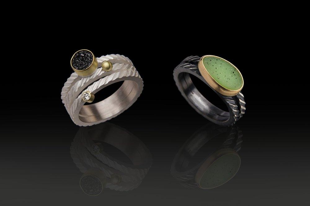2 Druzy Rings
