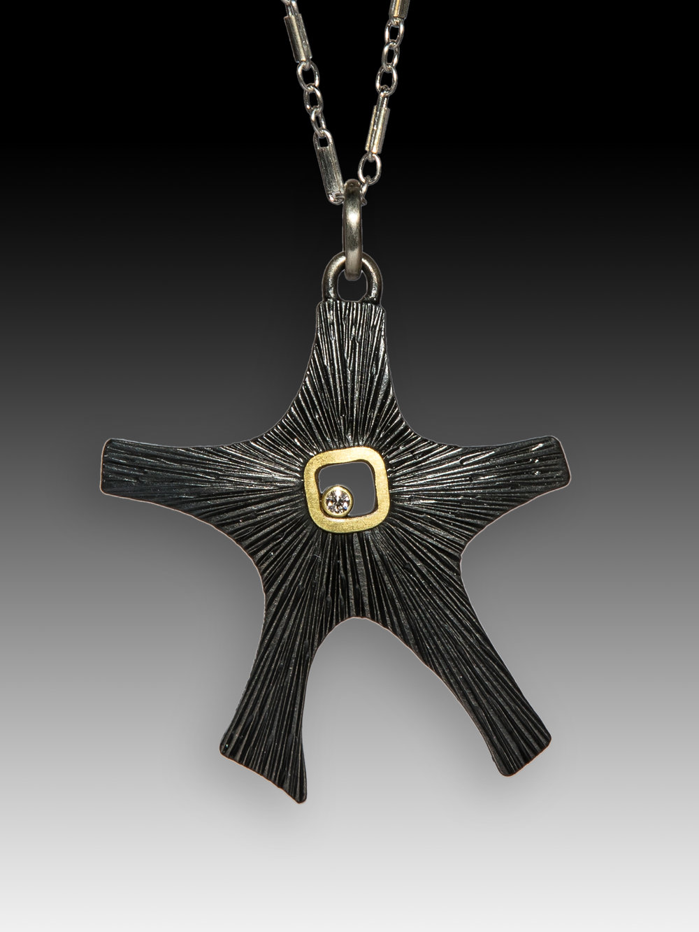 Oxidized Starfish Pendant