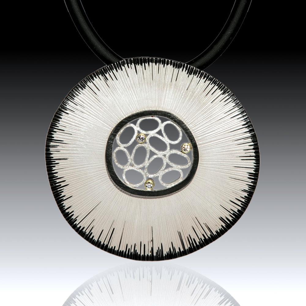 Bright Textured Pendant w/3 diamonds