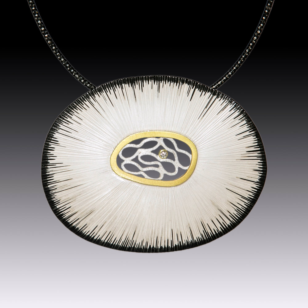 Bright Textured Oval Pendant