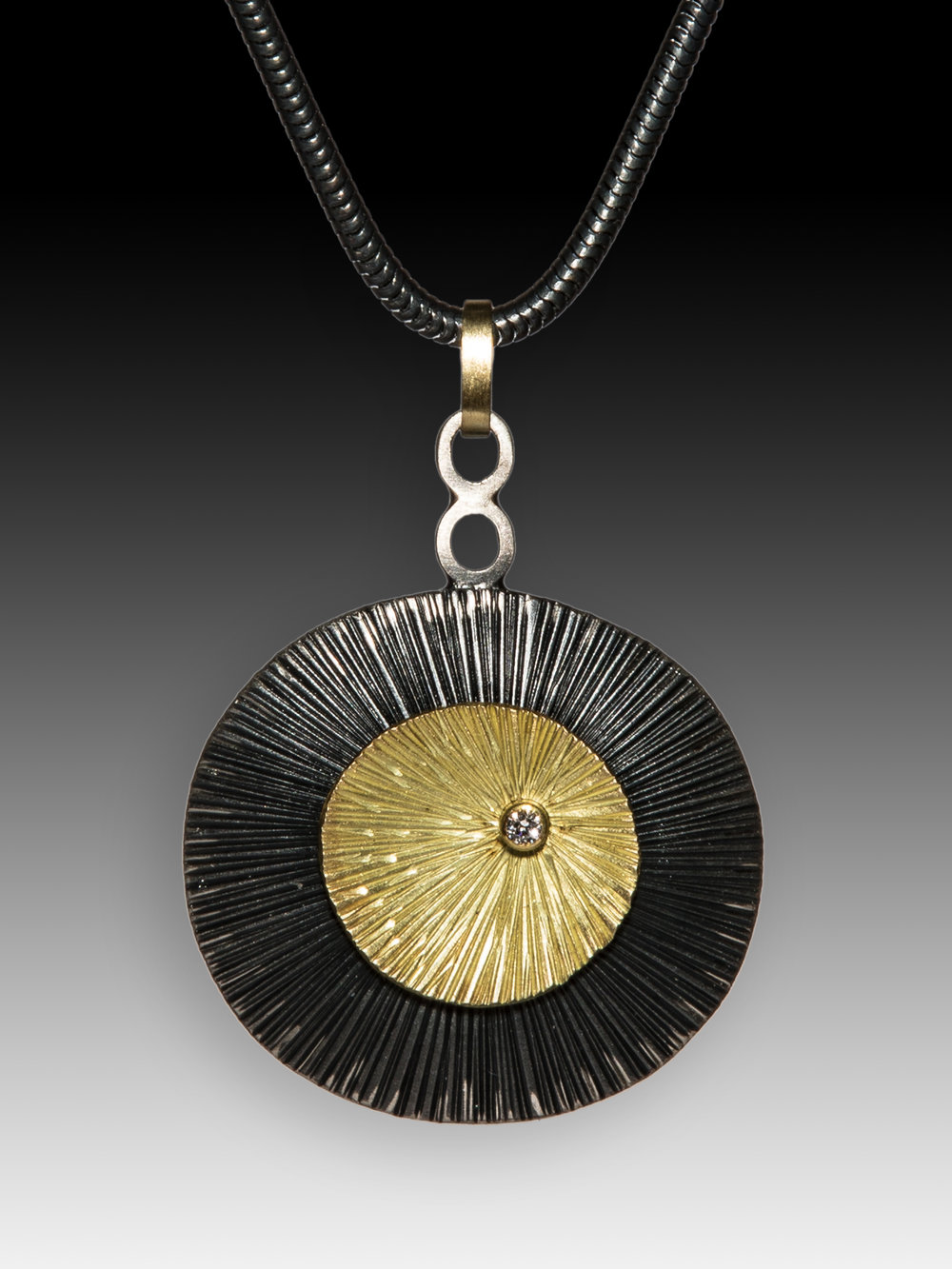 Double Textured Pendant w/diamond