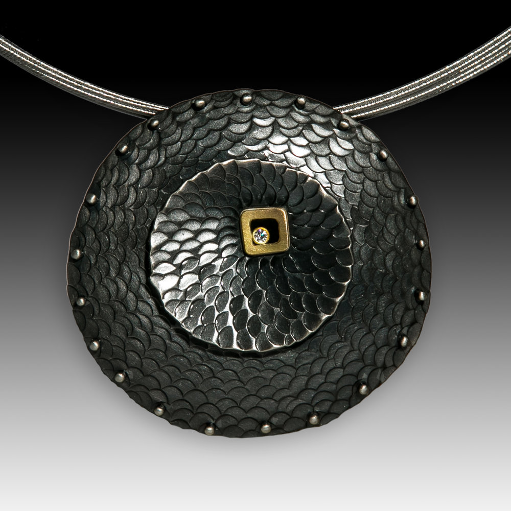 Double Half Moon Textured Pendant