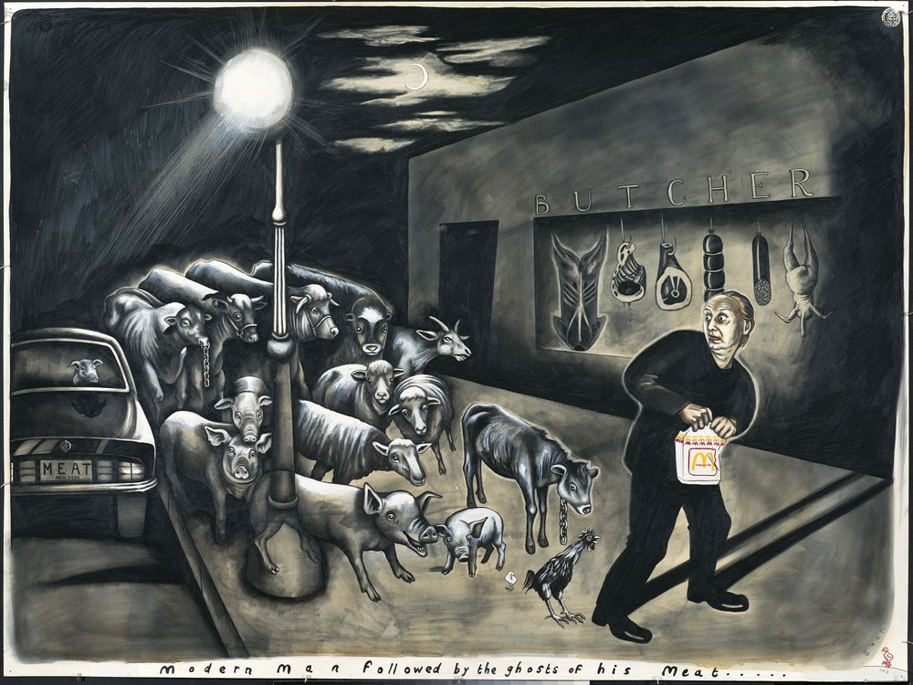 Sue Coe,  Modern Man Followed by the Ghosts of his Meat,  1990. Courtesy the artist.