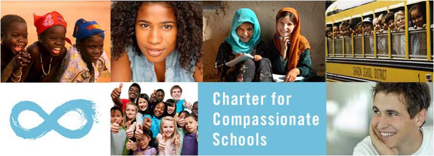 The Charter for Compassionate Schools   We—the students, teachers, staff, and parents of  ( named place of learning )    declare our shared commitment to the following principles, and pledge to hold ourselves and one another accountable to their realization.   We recognize that every person shares a common humanity capable both of happiness and suffering.  We pledge in our words and actions to treat everyone in this school community as we would wish to be treated, to help those around us who are in need, and to make amends when we cause another pain.   We recognize that we are a school with different abilities, body sizes, races, religions, classes, gender identities and sexual orientations.  We pledge to step into the shoes of others and see how things look from their point of view, especially when we disagree or find ourselves in conflict.   We recognize that intolerance and hatred cause suffering and that that when we stand by doing nothing, or laugh or post comments online when others bully, we contribute to the problem . We pledge to stand up to bullying and make this a school where everyone belongs.  In signing, we commit to practice the values in this Charter within our school community; in our daily interactions, whether teacher-to-teacher, teacher-to-student, or student-to-student; and in the projects we undertake within our community and in the world.