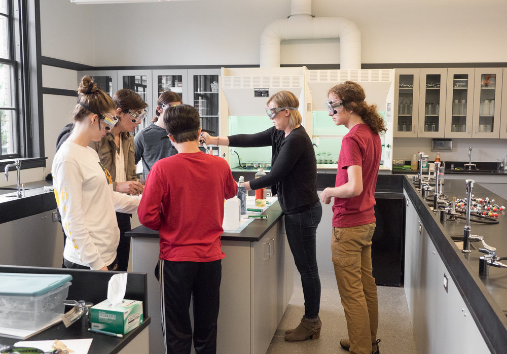 students conducting one of many labs
