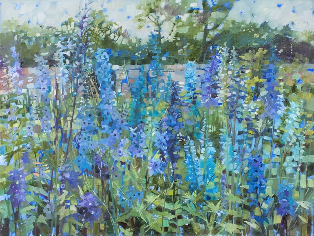 Suffolk Garden (Delphiniums)