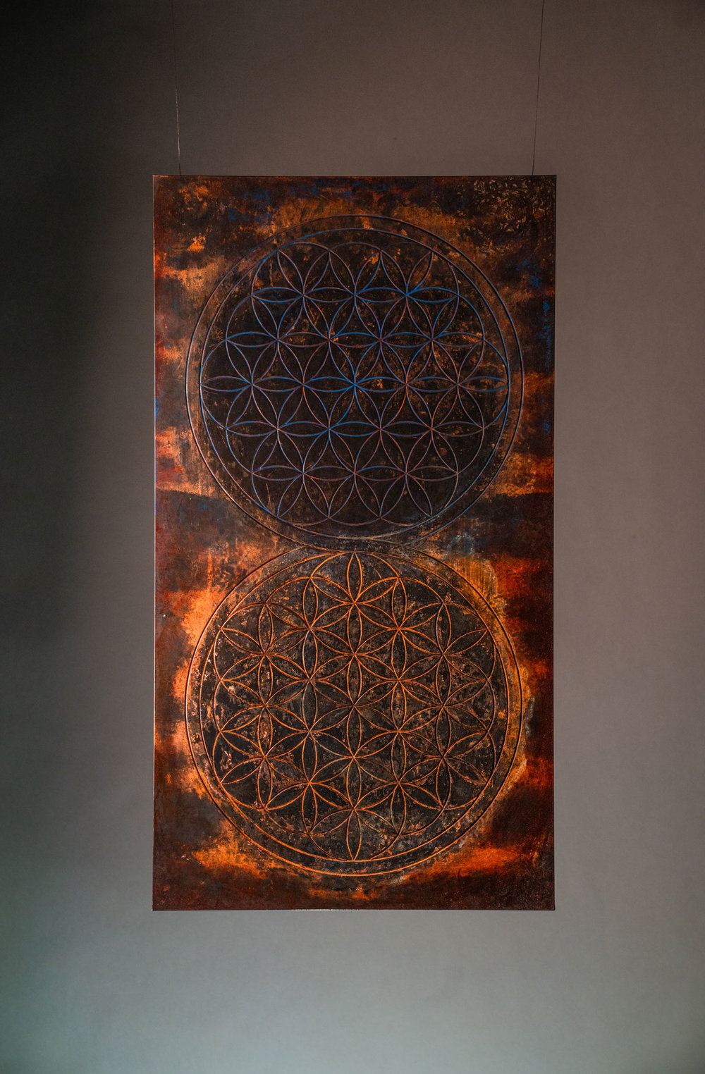 DUALITY - The fundamental forms of space and time reflected, one in shadow, one in light but otherwise identical in every sense. Parallel universes kiss and converge, As you arch into it's six fold symmetry, don't be surprised if you happen upon your other self.MATERIAL: Copper