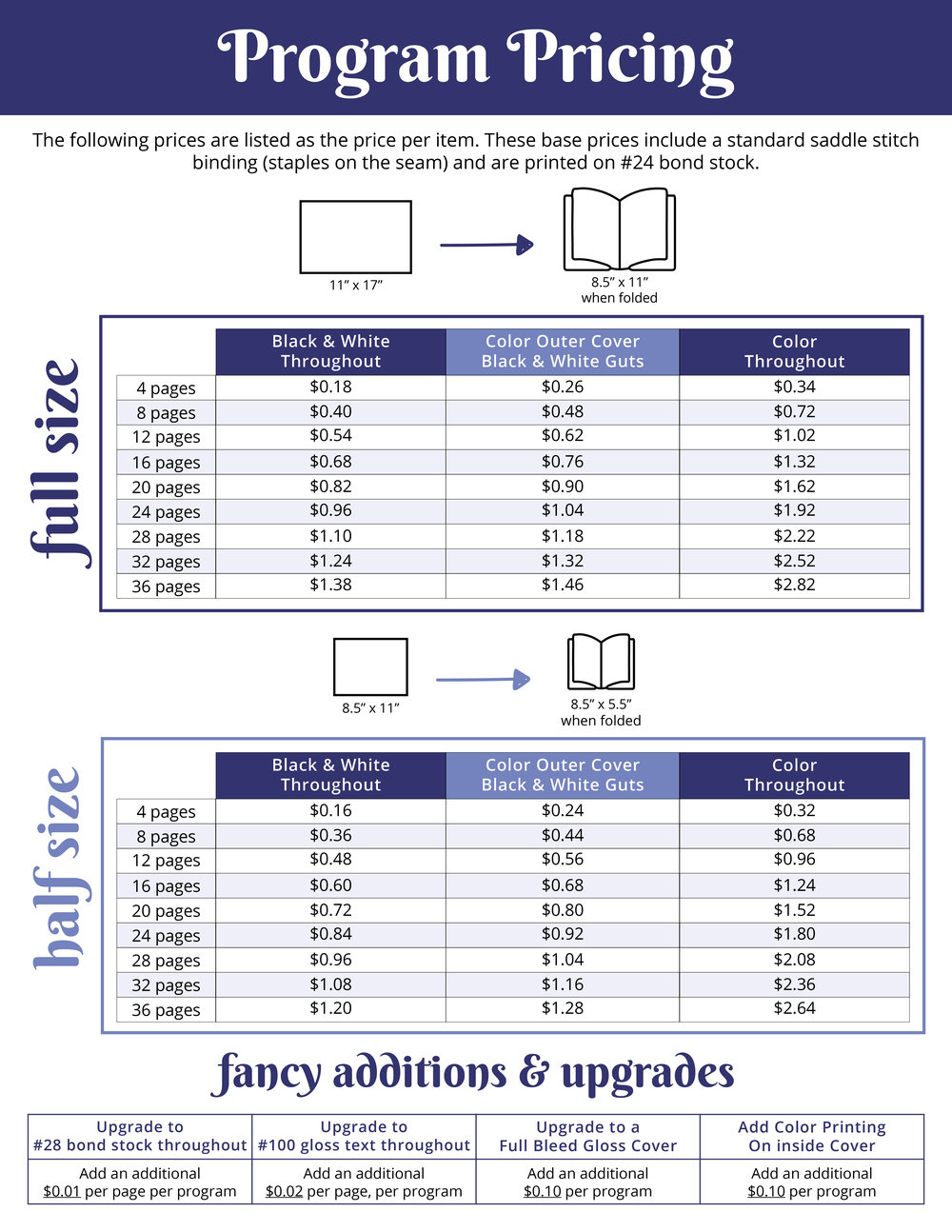 Theatre Program Printing Pricing