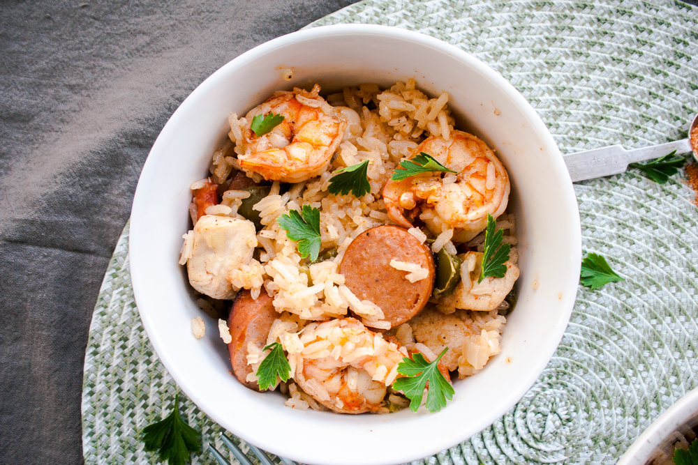 Jambalaya with Chicken, Shrimp and Andouille Sausage