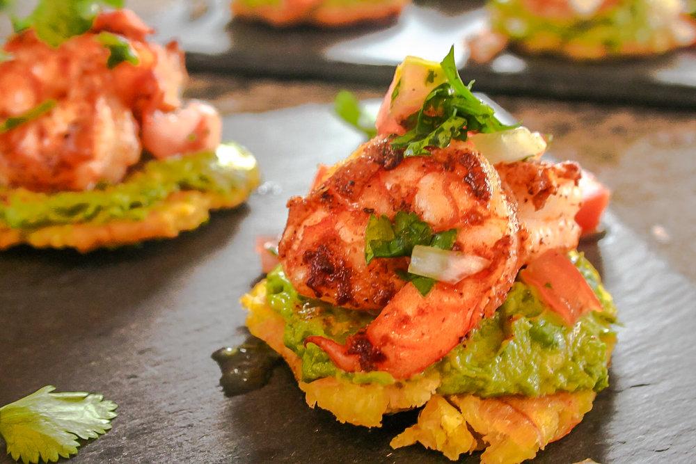 Blackened Shrimp and Avocado Patacones