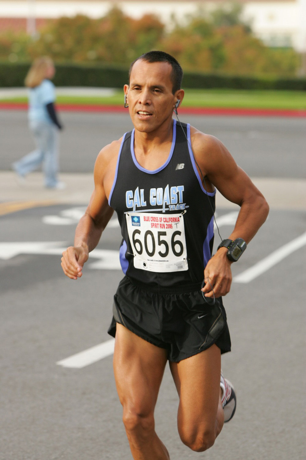 Juan Ramirez running Spirit Run 2006. Juan won the 10k and also raced the 5k that year.