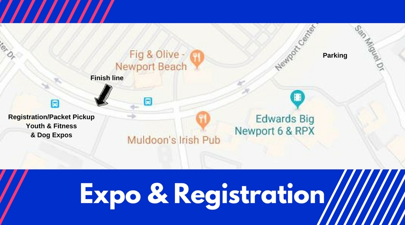 Expo Location - Registration, Packet Pickup, and the Youth & Fitness & Dog Expos moved to the parking lot next to the finish line in the Gateway Center, 110 Newport Center Drive.This new location made it more convenient for expo attendees to watch their loved ones finish their races and head directly into the expos.Parking will be available in the Big Edwards Theater parking lot.