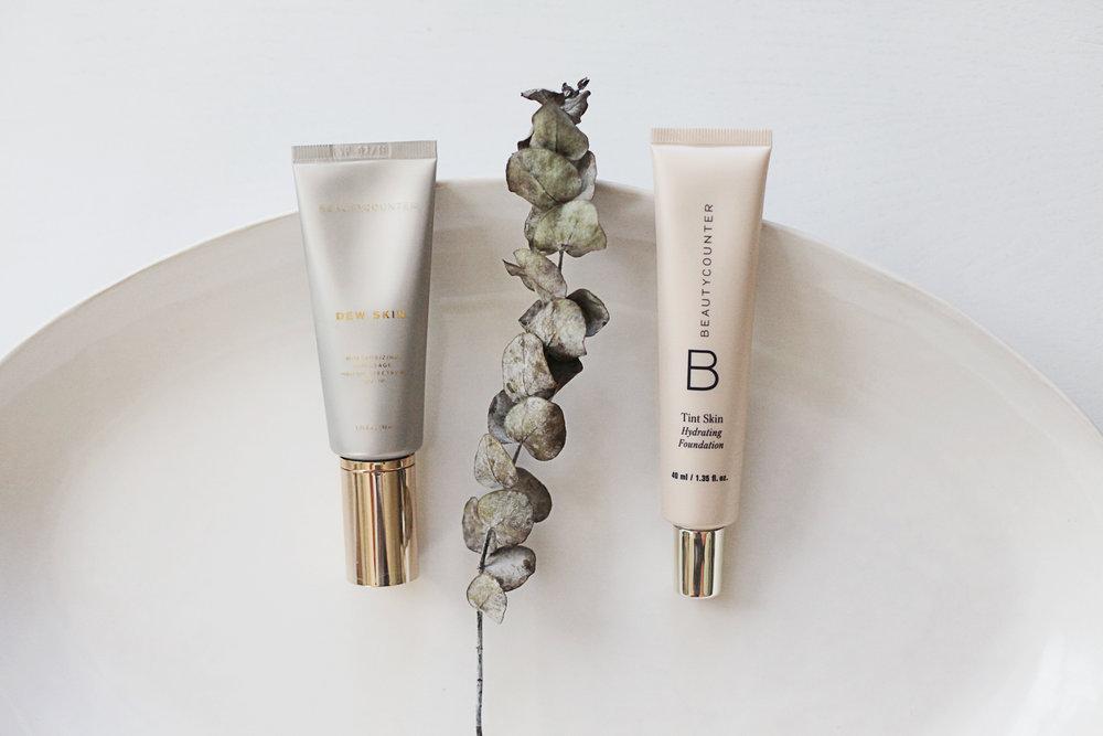 Beautycounter's Dew Skin tinted moisturizer and Tint Skin foundation.