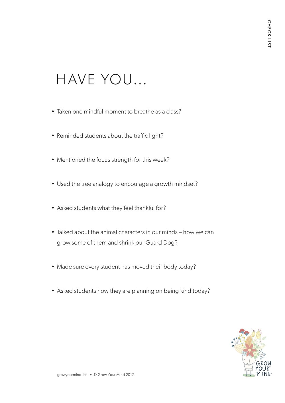 Checklist - For teachers to use as a guide to every day wellbeing in the classroom