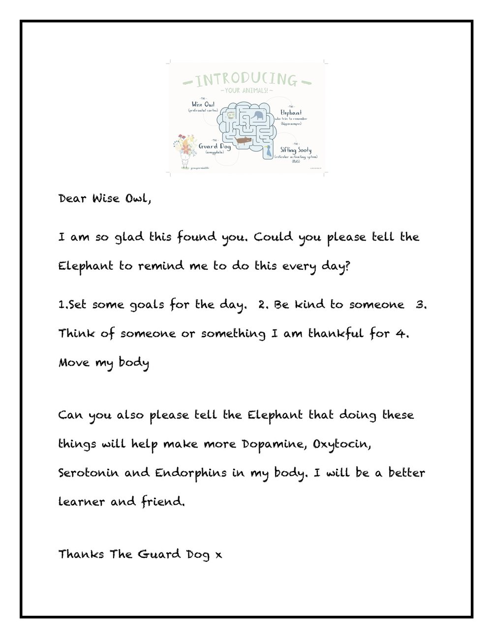 Letter to Wise Owl - Year 3-6 (to go with brain lesson)