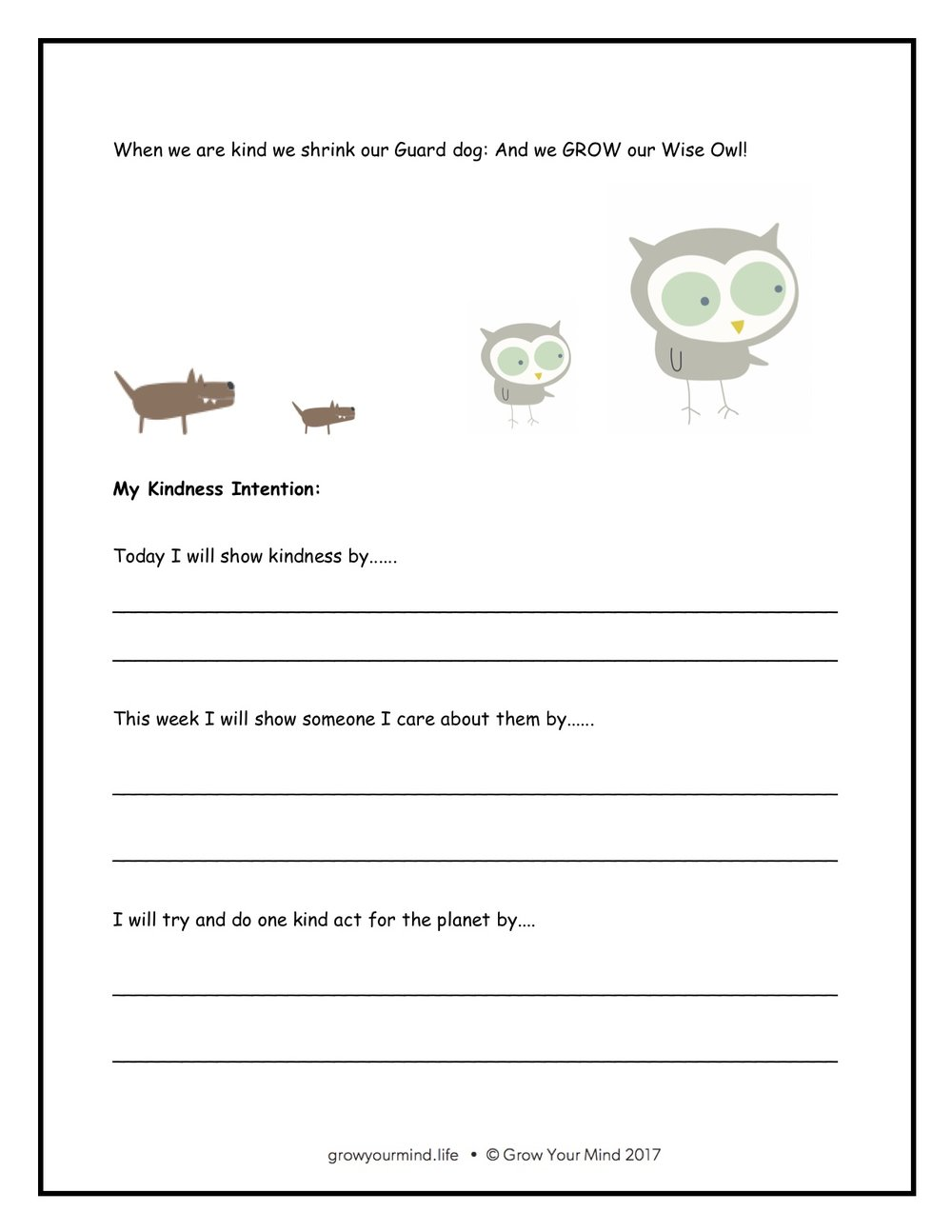 Kindness - Year 2-6 x 3 worksheets with a kindness theme