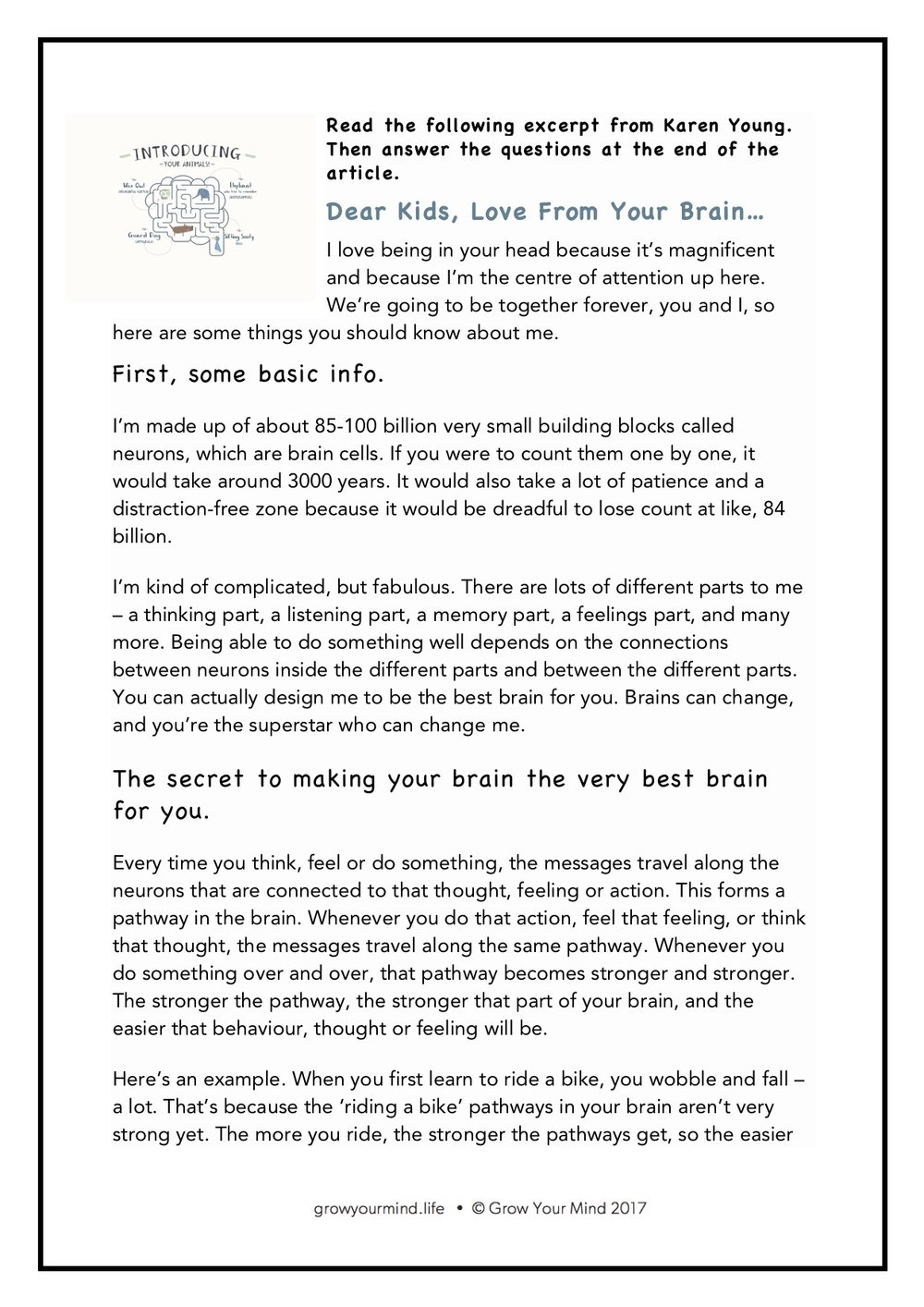 Neurons - Year 6 comprehension task