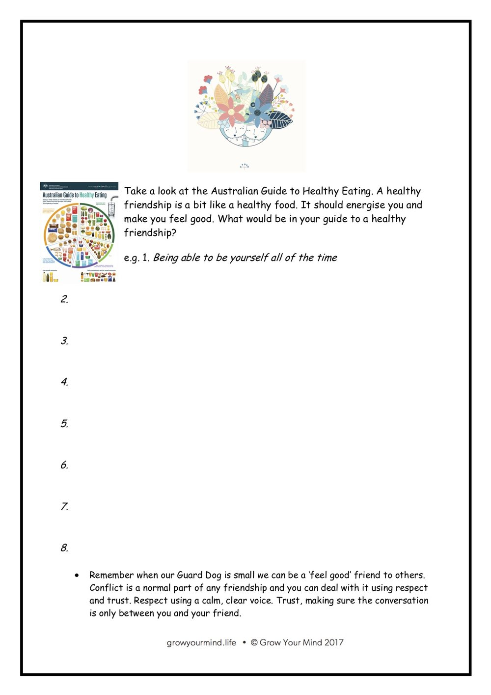 Healthy friends - Year 3-6 worksheet to accompany mindful communication lesson plans