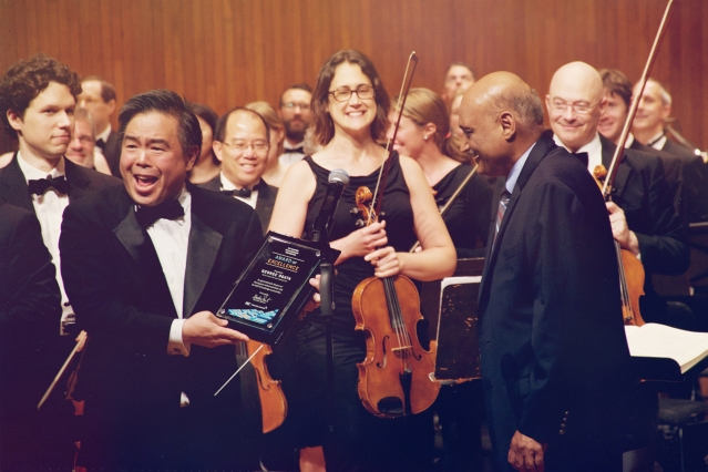 20 YEARS! - MIT Professional Education's Executive Director Bhaskar Pant celebrated the 20th anniversary of MITSPO with Conductor George Ogata and the orchestra members in 2016Photography by Andy Shao