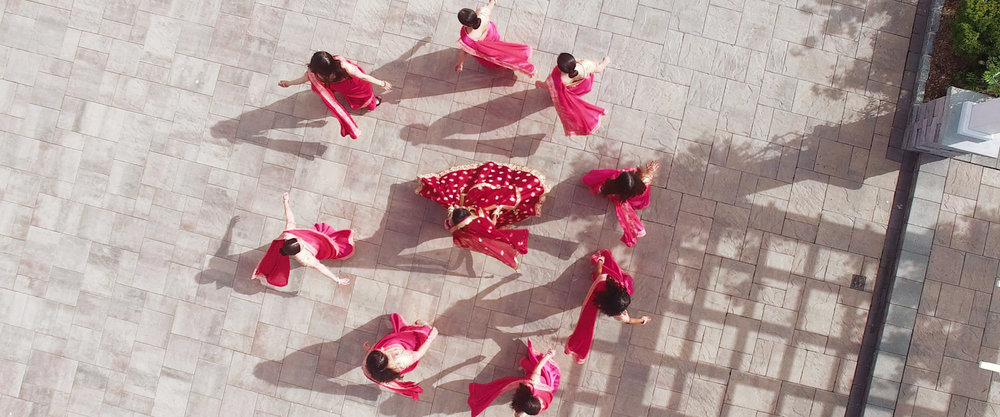 Indian Bride and Bridesmaid Drone Shot - Image Extracted from Video