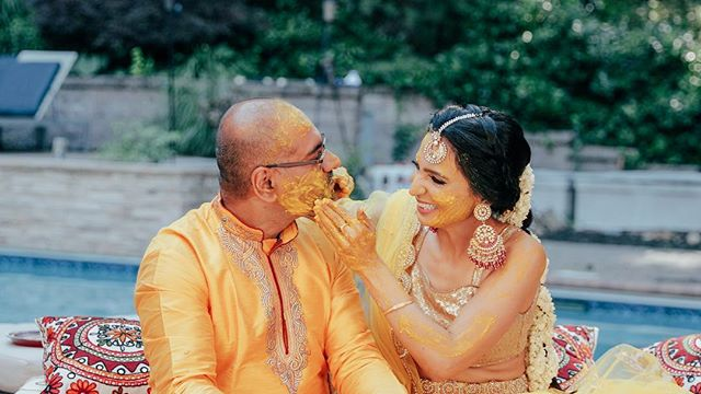 When groom gives in, bride gets to have more fun - frame from video #haldiceremony #pithi #nyweddings #weddingfilm #indianwedding #indianbride #indiangroom #bridallook #weddingvideographers