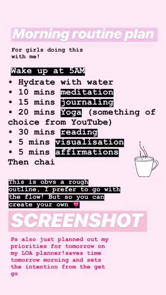 morning routine - For Daily Manifestation Tips, come find me on insta @kimberleywenya
