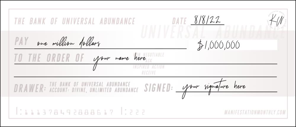the KW abundance cheque -