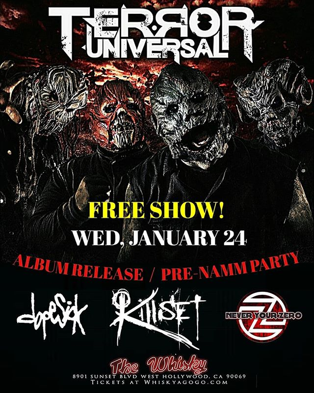 "@terroruniversalofficial is having a FREE SHOW album release & Pre-NAMM party, at @thewhiskyagogo in N. Hollywood, on January 24th! ""Make Them Bleed"" out 1/19/18, with guests: John Moyer (Disturbed, Art Of Anarchy) & Tony Campos (Ministry, Fear Factory, Static-X). Pre-Order NOW!  https://www.pledgemusic.com/projects/terror-universal-make-them-bleed  https://terroruniversal.bandcamp.com/album/make-them-bleed  Come early and check out the great bands playing with us!! #TerrorUniversal #MakeThemBleed #uponaburningbody #soulfly #illnino #machinehead #killset #neveryourzero #dopesick #MinusHeadRecords #NorthHollywood #whiskyagogo #PreNAMMshow #freeshow"