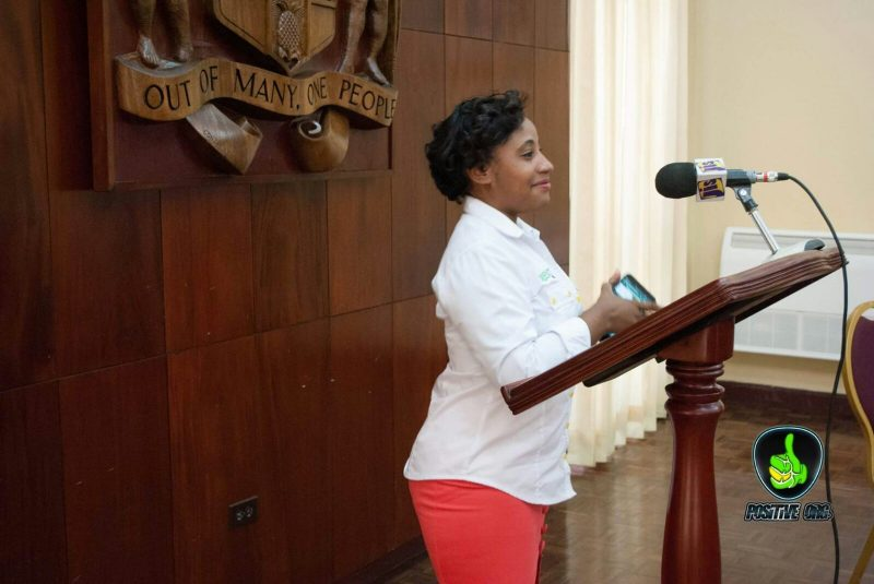 Samantha Miller speaking at a youth meeting at King's House, Jamaica. Photo courtesy of Neville Charlton
