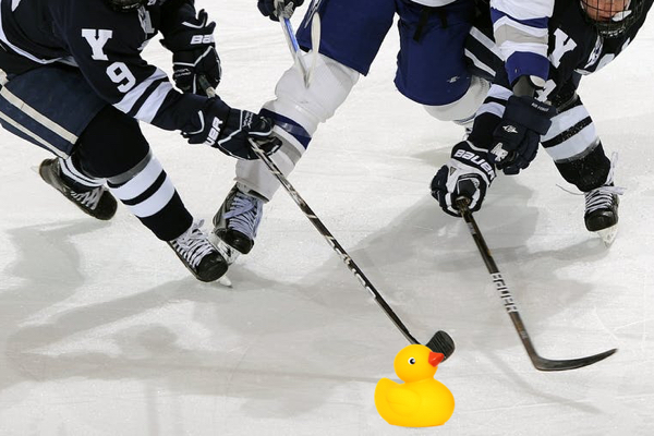 Replace a puck with a duck.