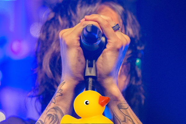 Sing the Rubber Duckie song to your own rubber duck at a karaoke bar or in another public setting.