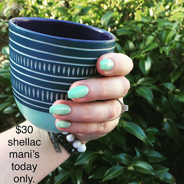 $30 shellac Mani's today only! I'm also offering 20% off all waxing. AND on a side note... Don't forget Mother's Day is this Sunday, we have plenty of these beautiful Koa mugs ( as pictured) we also have new Koa candles, these candles smell amazing and the best part, when your done with the candle your left with a stunning mug.  We also have 30% off Algologie's Revitalising Marine garden range and plenty of gift vouchers printed ready to go!