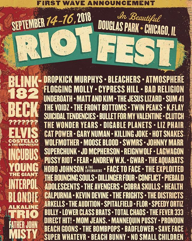 Very excited to be playing @riot_fest, September 14-16 in Chicago!