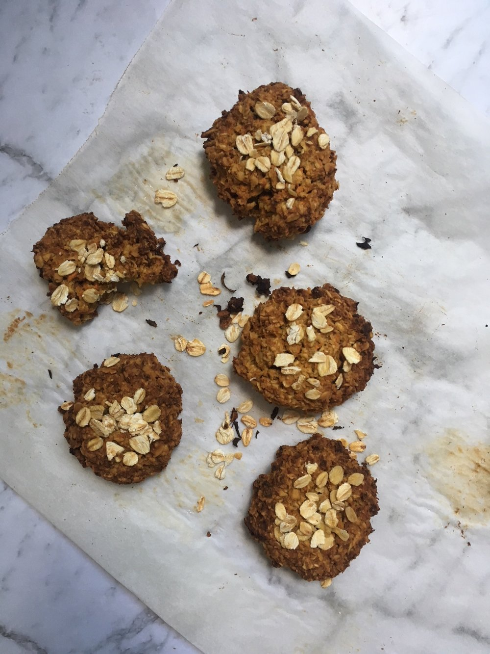 chewy carrot anzac biscuits