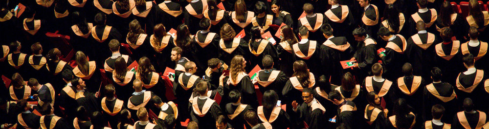 Crowd of university graduates