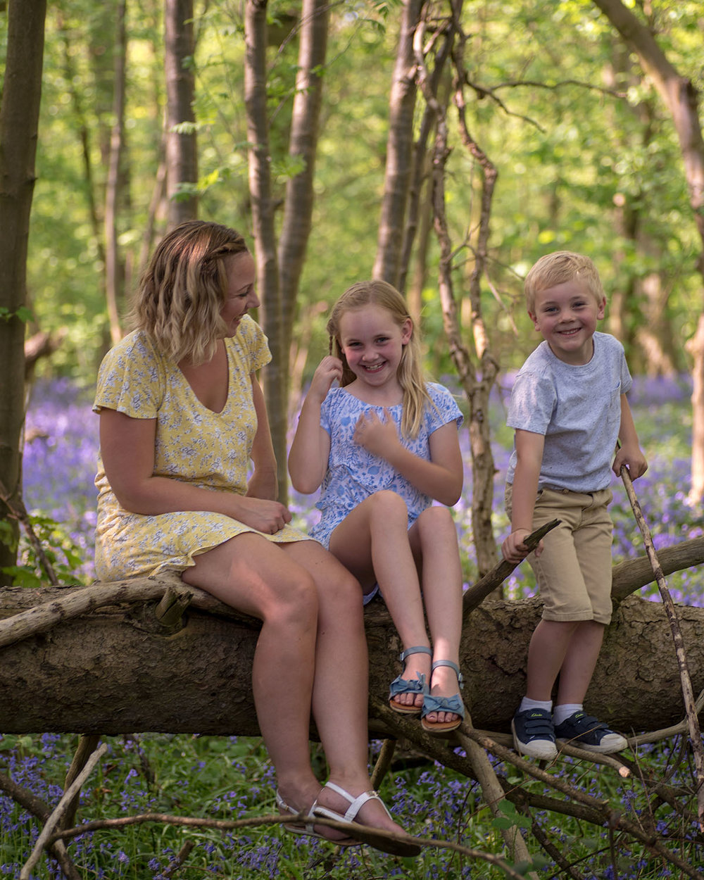A family photo shoot in Oldmoor woods, Nottinghamshire. Here the family are sat on a fallen tree. Nottingham family photography