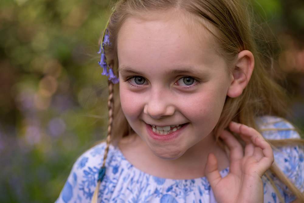 Those bluebells in the hair and the adorable smile will remind you of joy of exploring those bluebell woods.