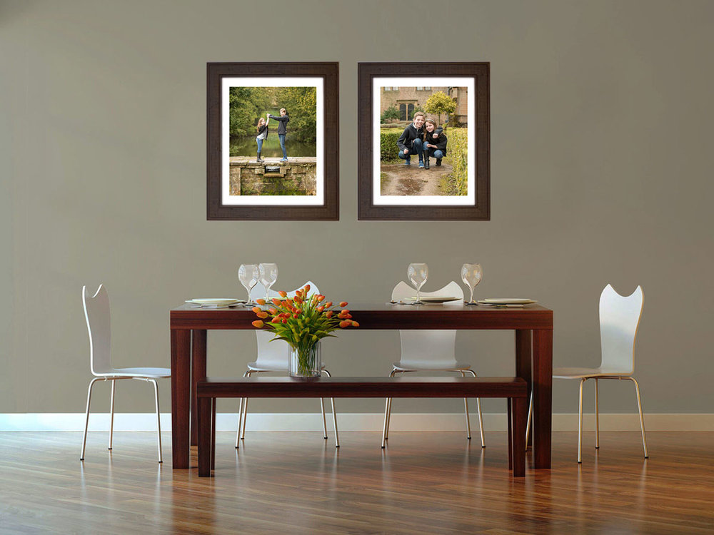 The framed prints in this wall gallery are naturally suited to each other because they are a similar colour. They were taken on one of our relaxed, family photography sessions so the images can be paired up nicely in a Duo wall gallery.