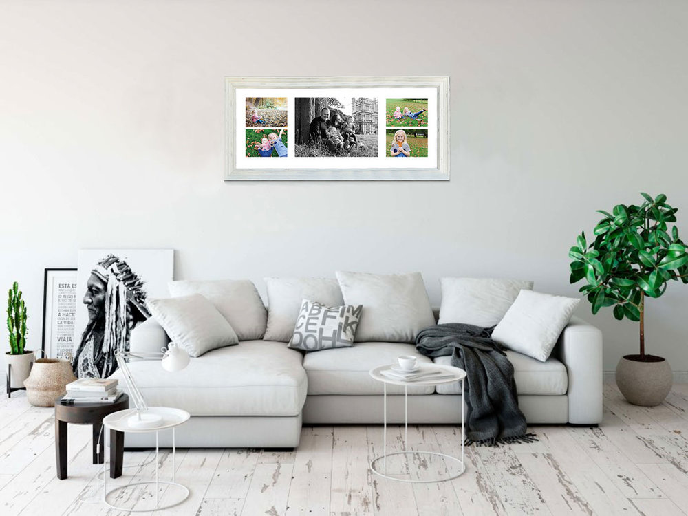 In this multi print frame, the black and white image is in the middle allowing the colours to balance beautifully on each side. Images taken on one of our relaxed, family photography sessions.