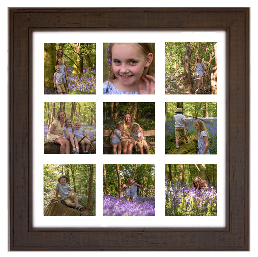 An example of our 9-image framed photos (we also do 5-image frames as well)  The Elsey family had a fantastic session at Oldmoor bluebell woods last year.