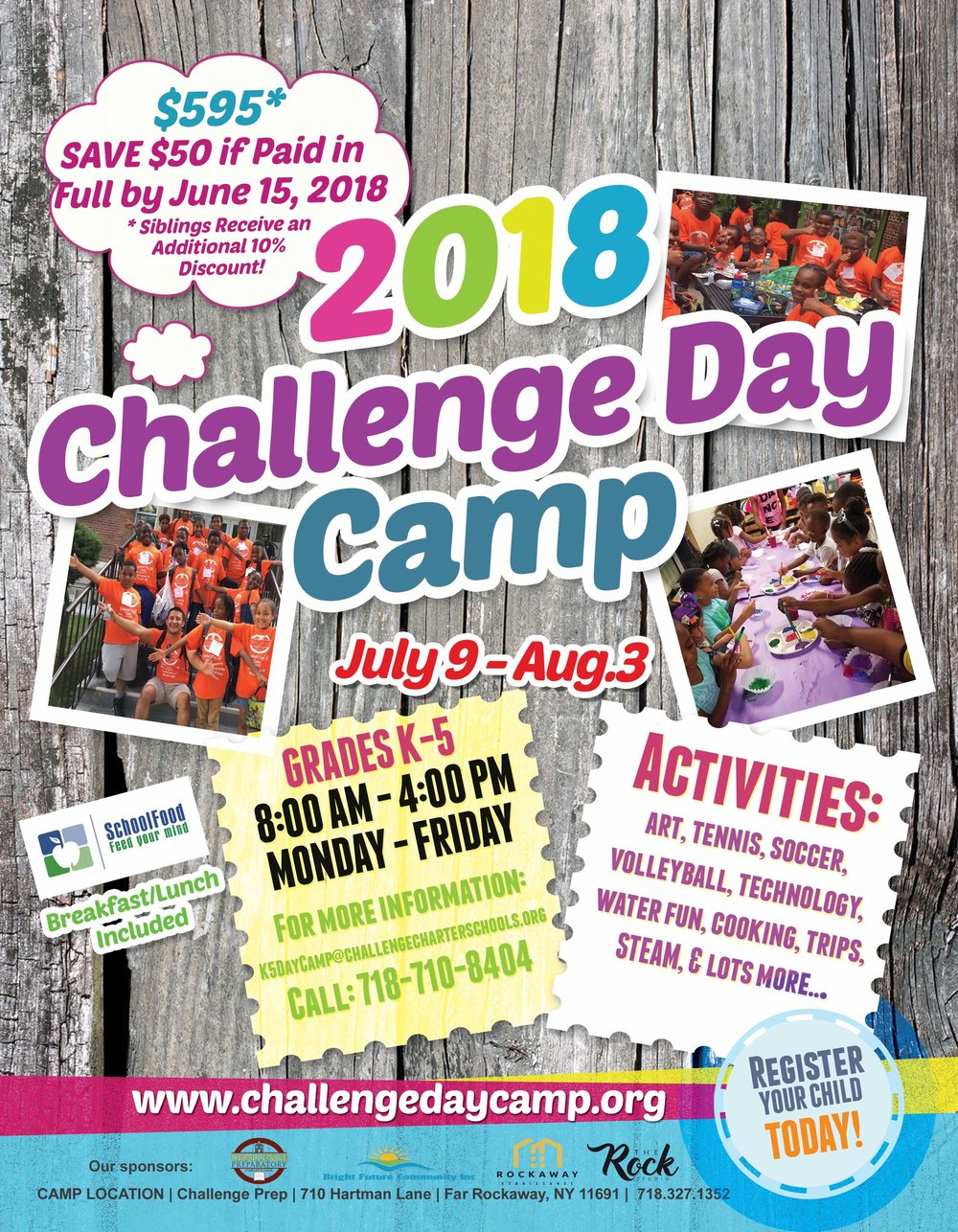 $50 Off K-5 Day Camp Flyer