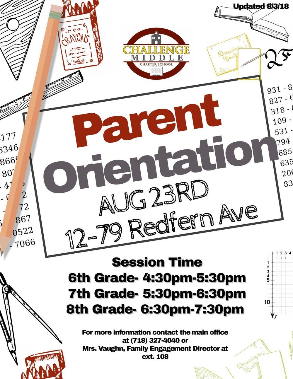 Middle School Parent Orientation Flyer