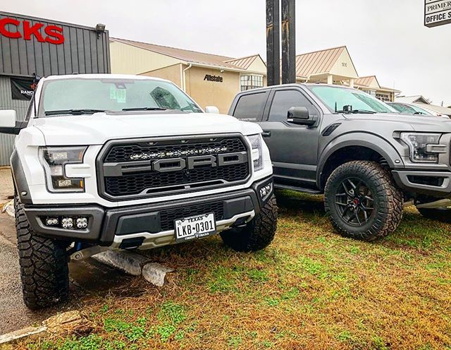 White Raptor with @eibach_offroad leveling springs, 37inch @nittotire, @methodracewheels and a lot of @bajadesignsofficial lights 😁. #gen2raptor #tridenttrucks #atxraptors