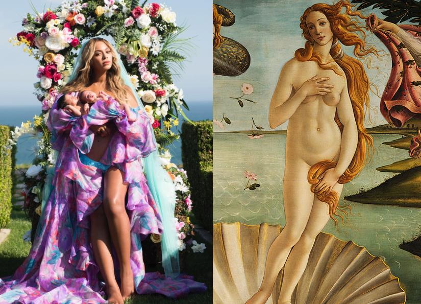 Image: Beyonce/Instagram. Boticcelli's Venus via Wiki/Uffizzi.