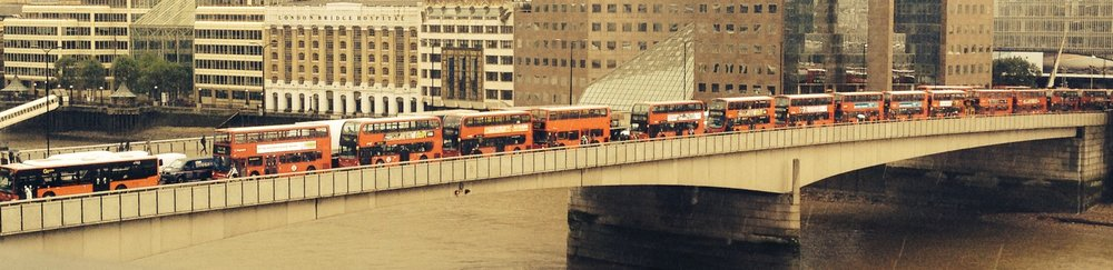 Queue of buses on London Bridge (c) B Yeoh